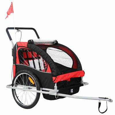 Child Bike Trailer 2 N 1 Double Seat Red Canopy Metal Frame