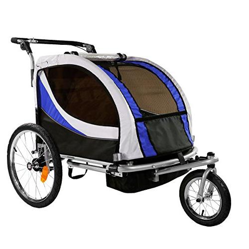 Clevr Foldable Double Bicycle Trailer Baby Jogger Blue pivoting