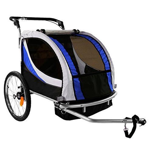 Clevr Trailer Baby Bike Blue w/ pivoting wheel