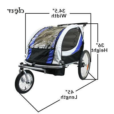 Clevr 3-in-1 Bike Trailer Stroller Jogger Kids, Blue