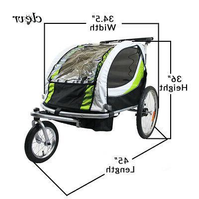 ClevrPlus Deluxe 3-in-1 Seat Bike Trailer Jogger Kids, Green