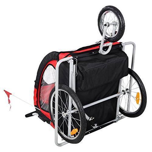 Giantex Child Trailer Double Bike Jogger Outdoor Resistant Seat 2 Kids Portable Baby Bike Safety Belt Brake