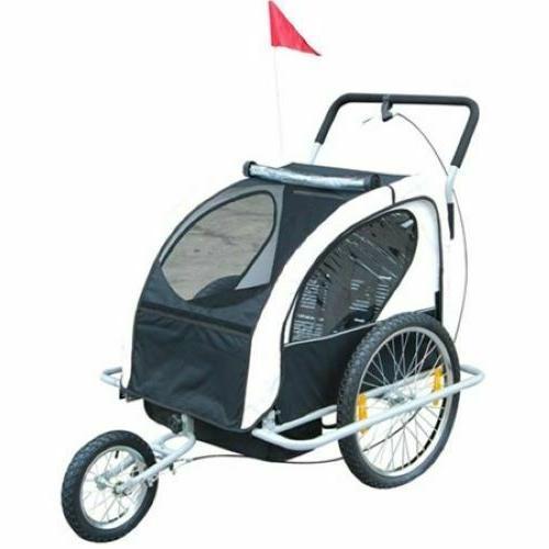 Child Bike Trailer & Stroller Lightweight Steel Frame Double