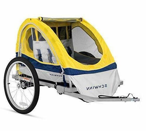 Schwinn Kids/Child Double Tow Behind 20 inch foldable, yellow