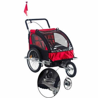 Elite Double Baby Trailer Stroller - Bicycle Jogger Red
