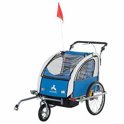 Aosom Elite II Double Baby Bike Trailer Stroller Child Bicyc