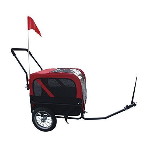Aosom Elite-Jr Dog Bike Trailer w/ Swivel Wheel - Red Black