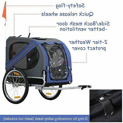 Aosom Elite Bike Folding Trailer Stroller Jogger Blue