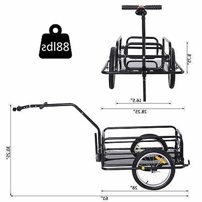 Folding Bicycle Storage Cart and Luggage Trailer Hitch Black