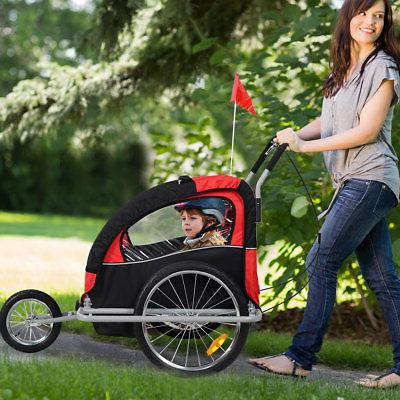 New 2 in 1 Bicycle Infant Child Bike Trailer Jogger