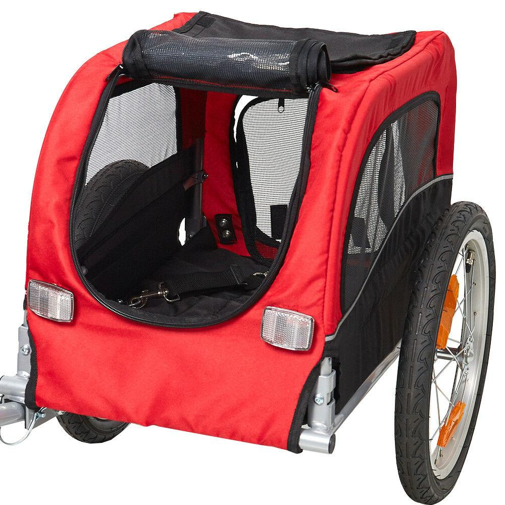 Folding Pet Bicycle Stroller Carrier Dog Cat BikeTrailer, Tw