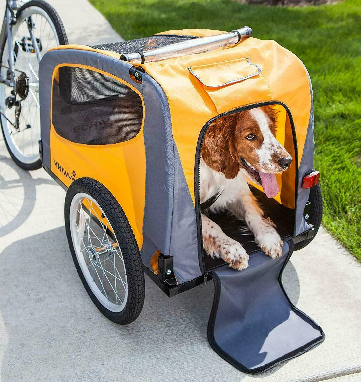 rascal pet bike trailer orange grey