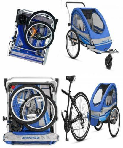 Schwinn Trailblazer Double Bicycle Trailer-Blue/Gray Aluminu