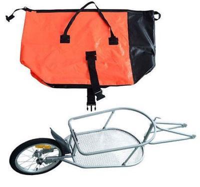 Single Wheel Bike Cargo luggage Cart Carrier Orange