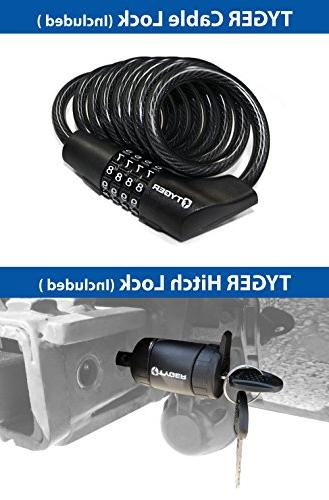 Tyger TG-RK4B102B 4-Bike Both Hitch Receiver | Hitch Pin Lock Cable Soft Cushion