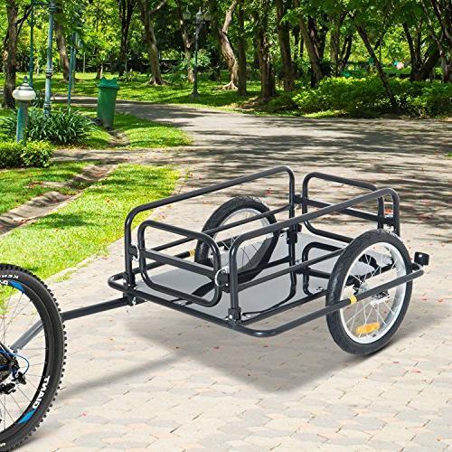 Aosom Wanderer Bike Cargo Cart and Luggage Trailer Hitch