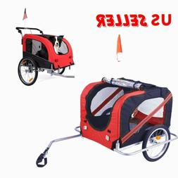 Pet Bicycle Trailer Dog Carrier Folding Mesh Bike Stroller J