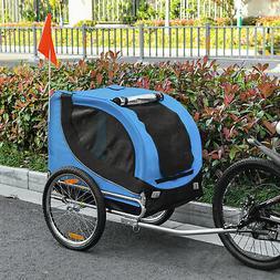 Pet Bike Trailer Dog Cat Travel Carrier Foldable Blue