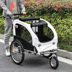 2in1 Pet Dog Bike Bicycle Trailer Stroller Jogger w/Suspensi