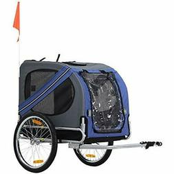 Pet Folding Dog Bike Trailer And Stroller Jogger Blue Grey S