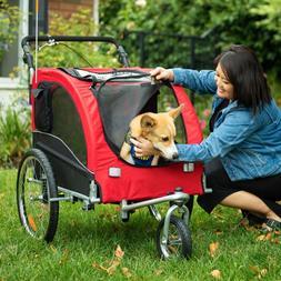 Pet Stroller Dog Cat Travel 3 Wheel Cart Lightweight Zipper