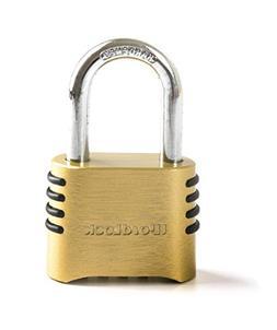 WordLock PL-048-SS 4-Dial Brass Lock, Short Shackle