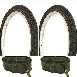 """Two BLACK RED LINE 20x1.95"""" BIKE BICYCLE TRAILER JOGGER TIRE"""