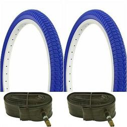 "Two BLUE 20x1.75"" BMX BIKE BICYCLE TRAILER JOGGER  TIRES & T"