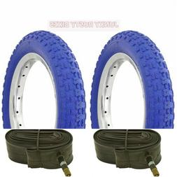 "Two BLUE 20x2.125"" BMX COMP 3 Bike BICYCLE TIRES & TUBES Dur"