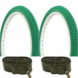 "Two GREEN 20x1.75"" BMX BIKE BICYCLE TRAILER JOGGER  TIRES &"