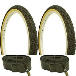 "Two GUM WALL 20x1.75"" BMX BIKE BICYCLE TRAILER JOGGER  TIRES"