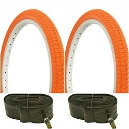 "Two ORANGE 20x1.75"" BMX BIKE BICYCLE TRAILER JOGGER  TIRES &"