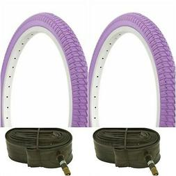 "Two PURPLE 20x1.75"" BMX BIKE BICYCLE TRAILER JOGGER  TIRES &"