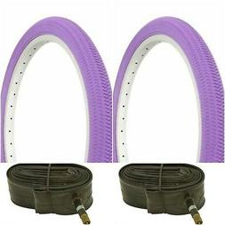 """Two PURPLE 20x1.95"""" BIKE BICYCLE TRAILER JOGGER TIRES & TUBE"""