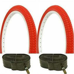 "Two RED 20x1.75"" BMX BIKE BICYCLE TRAILER JOGGER  TIRES & TU"