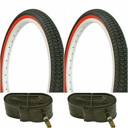 "Two RED WALL 20x1.75"" BMX BIKE BICYCLE TRAILER JOGGER  TIRES"