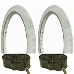 """Two WHITE 20x1.95"""" BIKE BICYCLE TRAILER JOGGER TIRES & TUBES"""